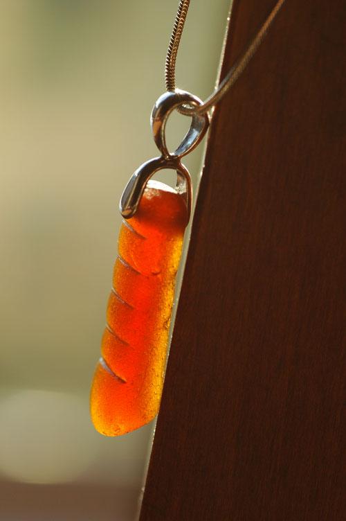 amber sea glass